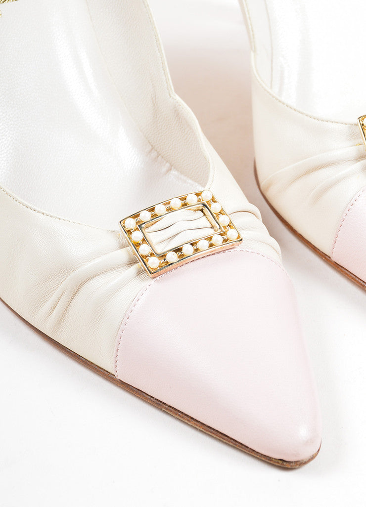 Chanel Pink and Cream Leather Faux Pearl Buckled Ruched Pointed Toe Pumps Detail