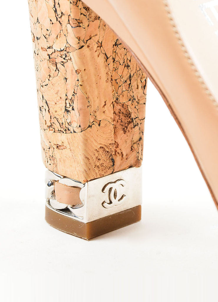 Tan Chanel Leather Chain Trim 'CC' Cork Heel Pumps Detail