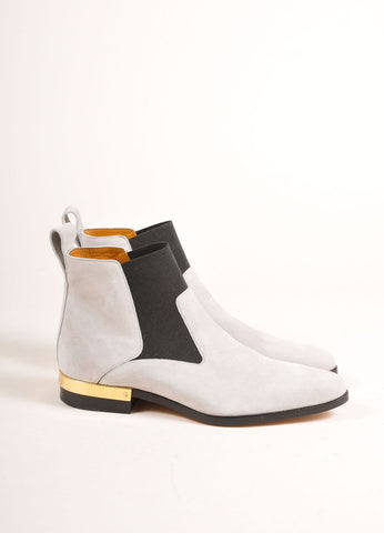 "Chloe New In Box Grey Suede and Gold Toned Heel ""Chelsea"" Ankle Boots Sideview"