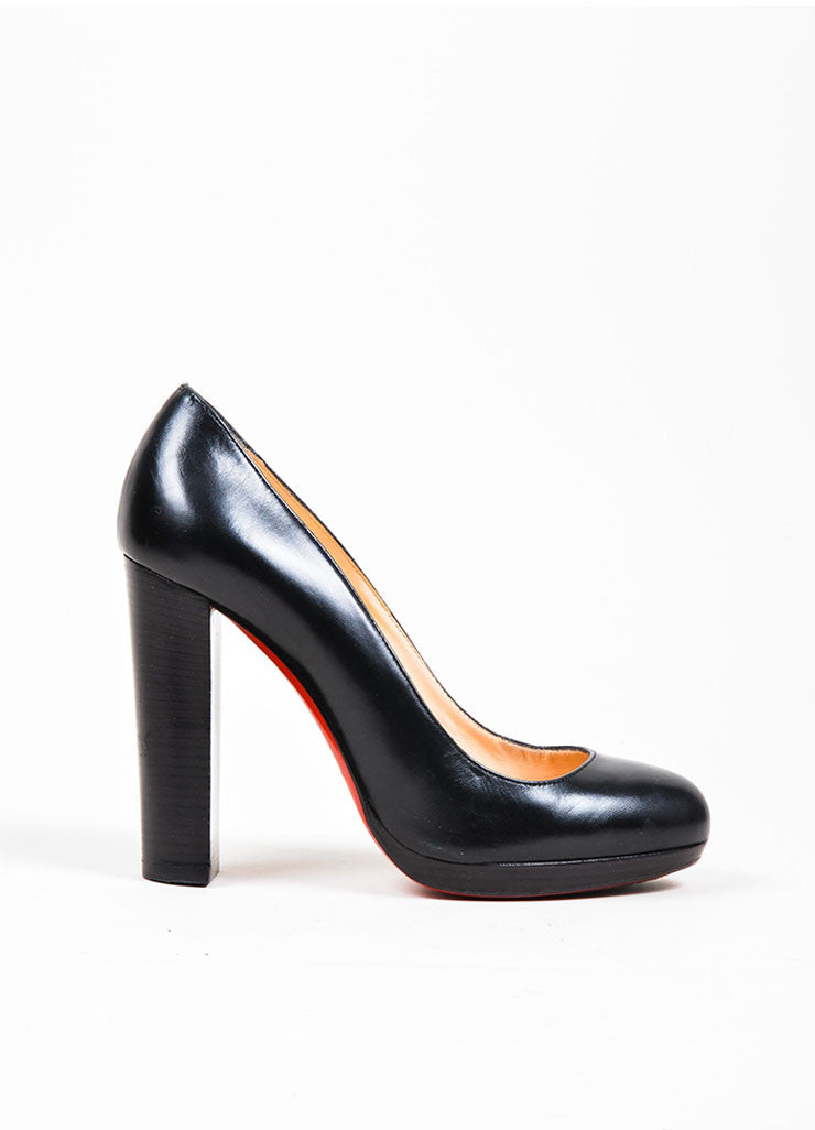 Black Christian Louboutin Leather Almond Toe Stacked Block Heel Pumps Sideview