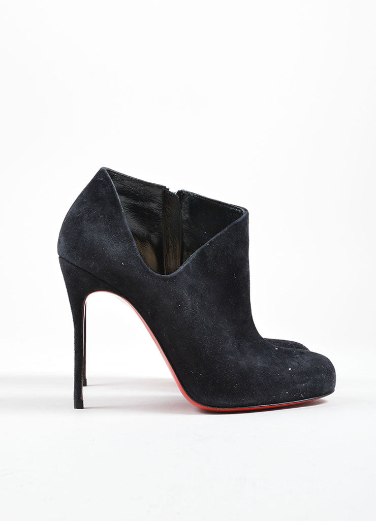 Christian Louboutin Black Suede Leather Cut Out Ankle Booties Sideview