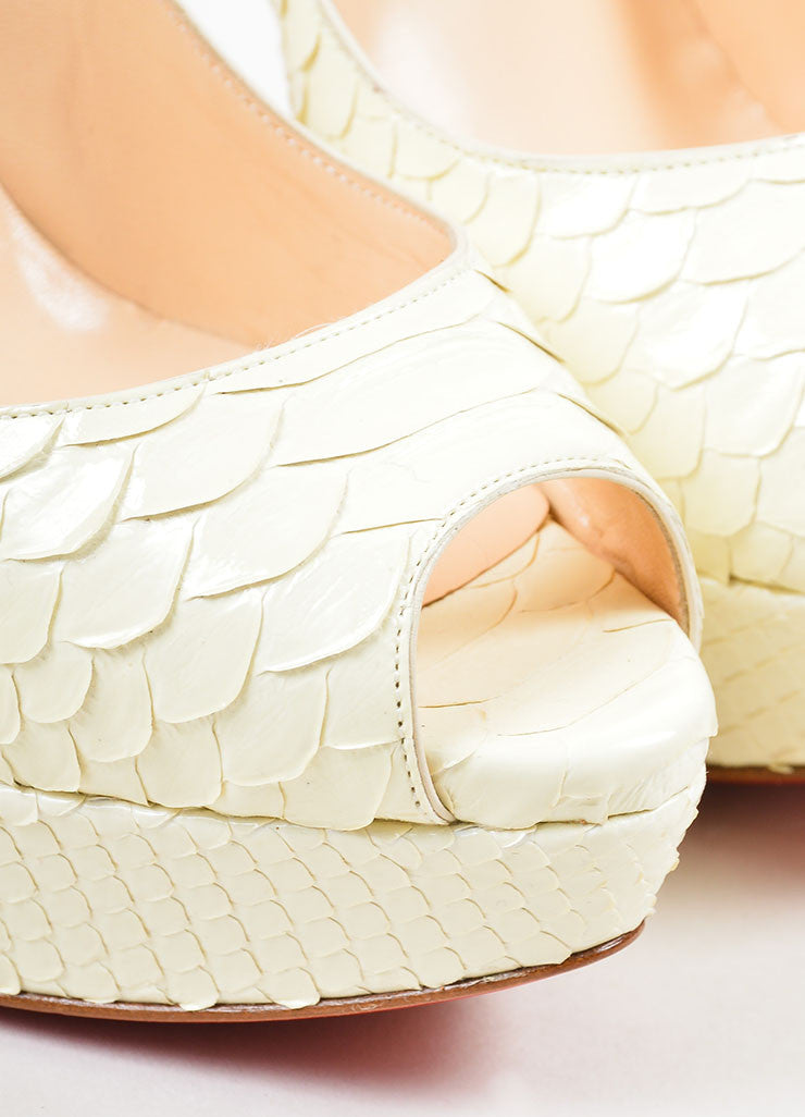 "Christian Louboutin Cream Python Leather ""Lady Peep 150 Crystal"" Pumps Detail"