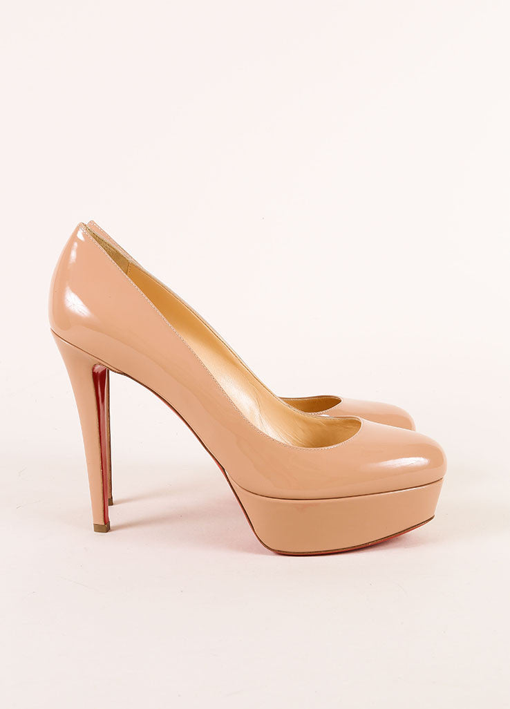 "Christian Louboutin New Nude Patent Leather ""Bianca 120"" Platform Pumps Sideview"