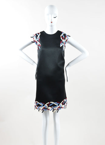 Christopher Kane  Black Multicolor Rope Lace Trim Sleeveless Shift Dress Frontview