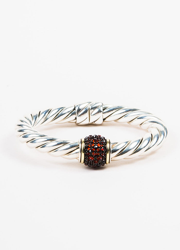 "David Yurman Sterling Silver, 18K Gold, and Garnet ""Osetra"" Bangle frontview"
