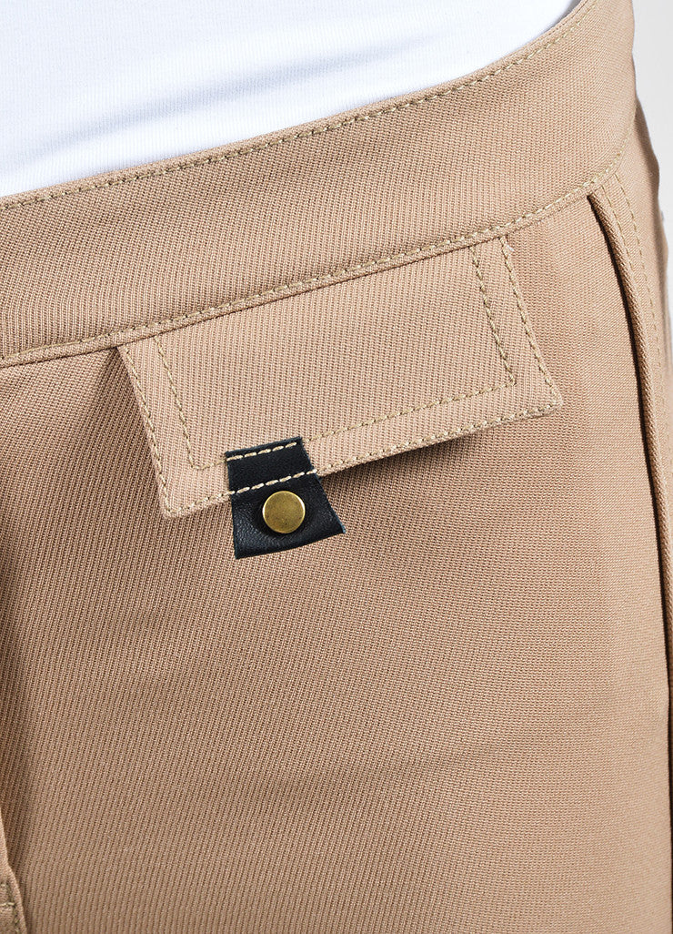 "Tan Derek Lam Camel Wool Suede Panel ""Jodphur"" Riding Pants Detail"