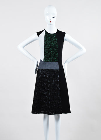 Black and Green Derek Lam Lace Color Block Paneled Sleeveless Dress Frontview