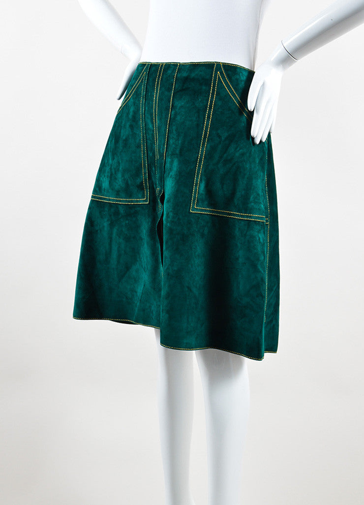 Derek Lam Green Suede Leather A Line Skirt Side