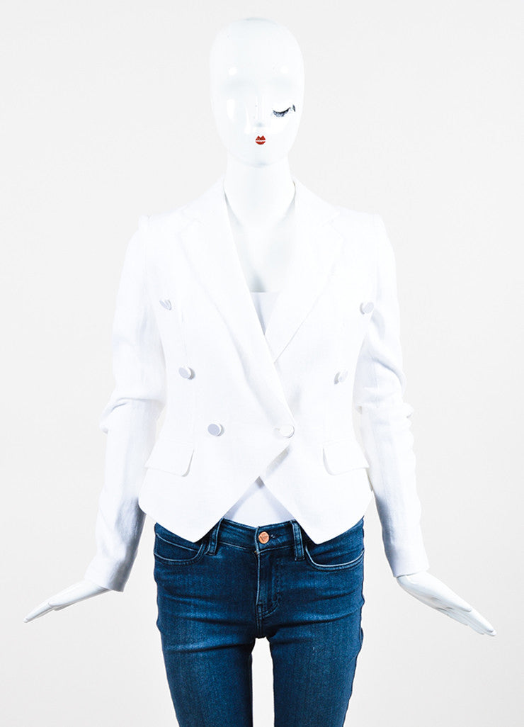 Dolce & Gabbana White Linen Double Breasted Jacket Frontview 2