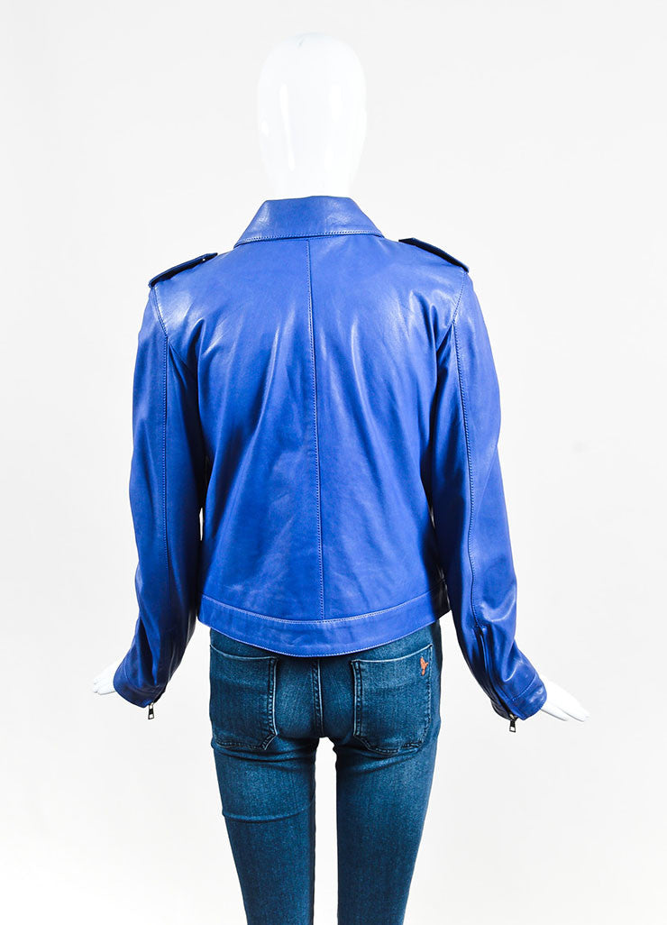 Each x Other Blue & Purple Zipped Leather Jacket back