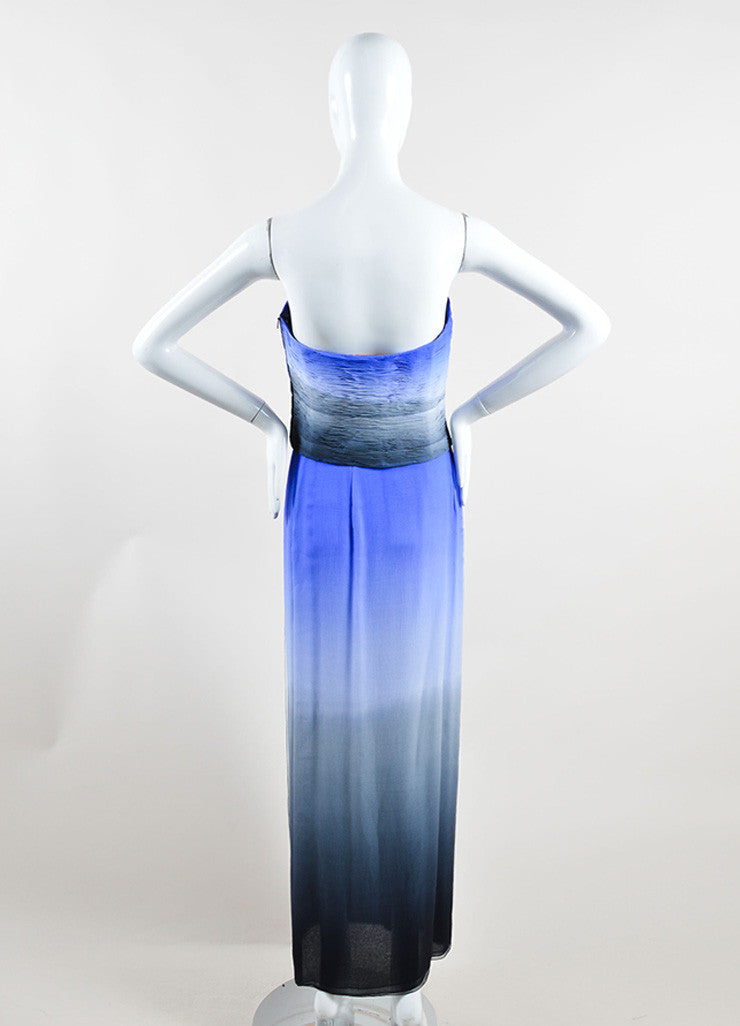 Emanuel Ungaro Blue and Grey Silk Two-Piece Sleeveless Evening Gown Backview