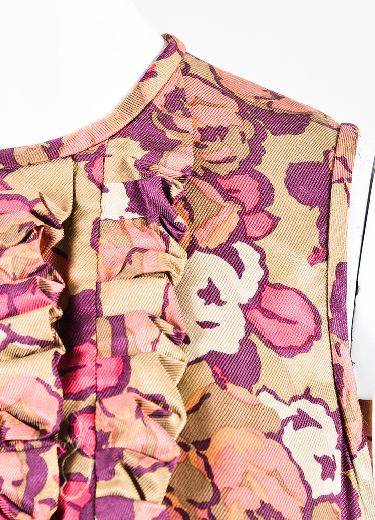 Taupe Pink Purple Etro Floral Print Ruffle Sleeveless Dress Detail