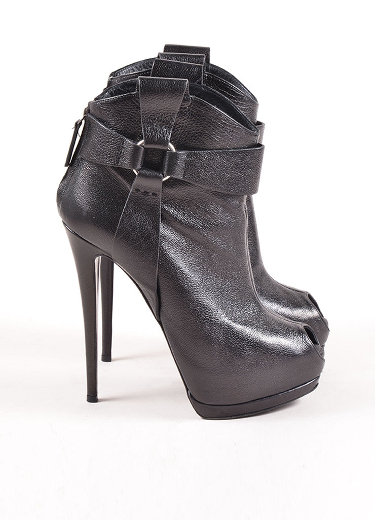 Giuseppe Zanotti Black Leather Peep Toe Platform Ultra High Heel Booties Sideview