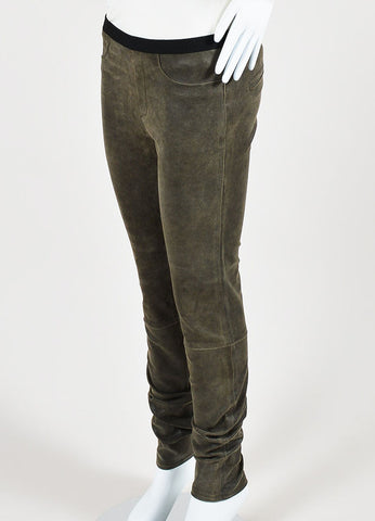 Helmut Lang Brown Suede Leather Legging Pants Sideview