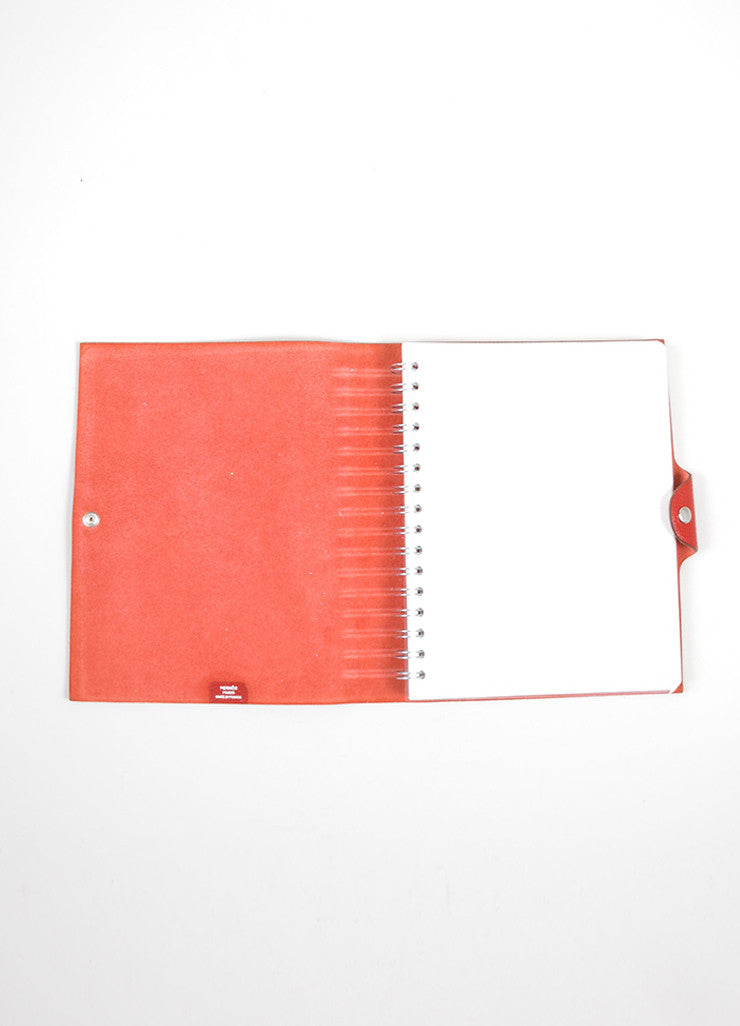 "Red Togo Leather Hermes ""Ulysse MM"" Snap Agenda with Paper Interior"