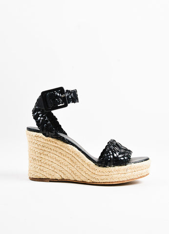 Hermes Black Contrast Woven Suede Patent Leather Espadrille Wedge Sandals Sideview