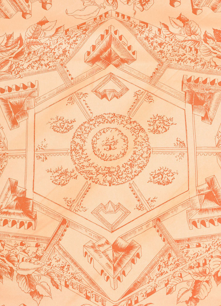 "Hermes Light Orange and Red Silk Twill Graphic Print ""Au Pays de Cocagne""  Scarf Detail"