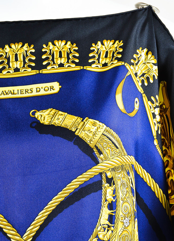 "Hermes Navy, Gold, and Pale Silver Silk ""Les Cavaliers D'Or"" Scarf Tunic Detail"