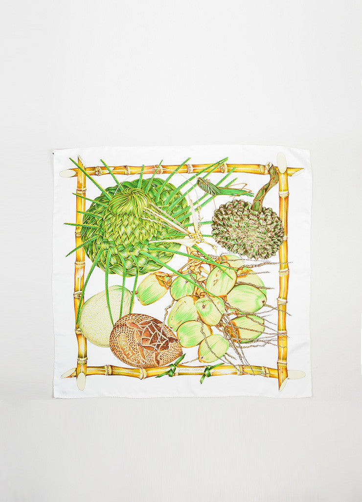 "White and Green Hermes Silk Vegetation Garden ""Jardin Creole"" Scarf Frontview 2"