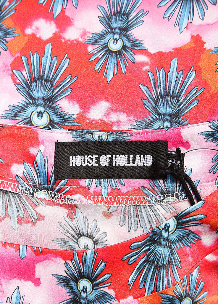 House of Holland New With Tags Red and Pink Dove Graphic Print Short Sleeve Dress Brand