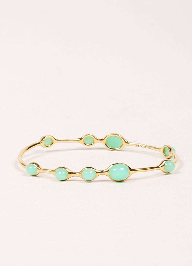 Ippolita 18K Gold and Green Chrysoprase Stone Embellished Bangle Bracelet Frontview