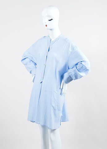 "Isabel Marant Etoile Light Blue Cotton ""Nita"" Long Sleeve Shirt Dress Sideview"