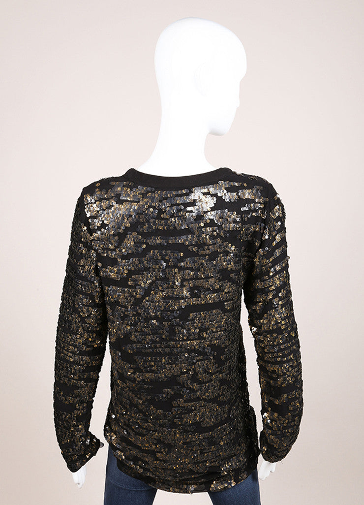 Isabel Marant New With Tags Black Silk Metallic Gold Sequin Tunic Top Backview