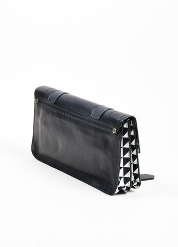 "Black and White Proenza Schouler Printed Leather ""PS1 Pochette"" Clutch Bag Sideview"