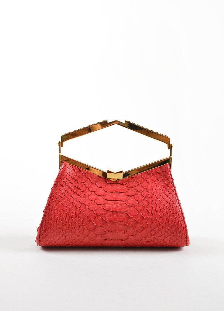 J. Mendel Raspberry Red Python Leather and Metal Clutch Bag Frontview
