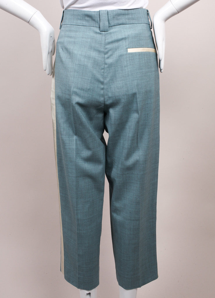 "Jonathan Saunders New With Tags Blue and Cream ""Nadine"" Ankle Tux Trousers Backview"