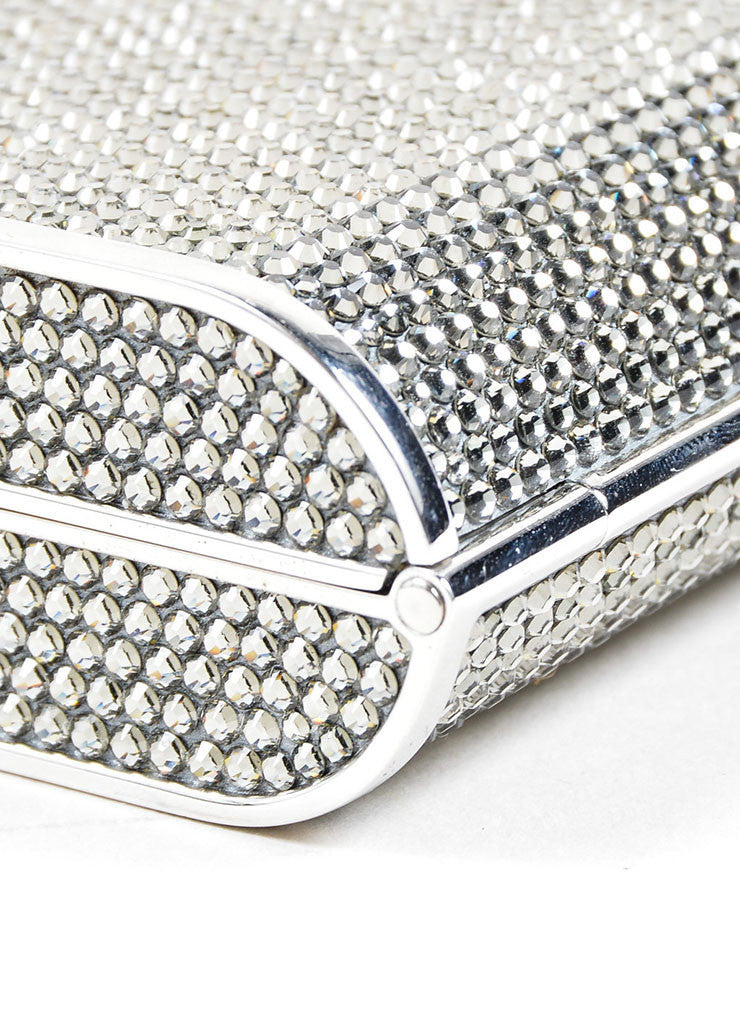 Silver Judith Leiber Rhinestone Embellished Minaudiere Clutch Bag Detail