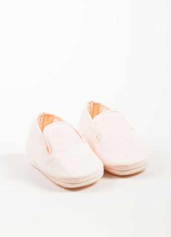 Hermes Pale Pink Wool and Angora Blend Baby Shoes Frontview