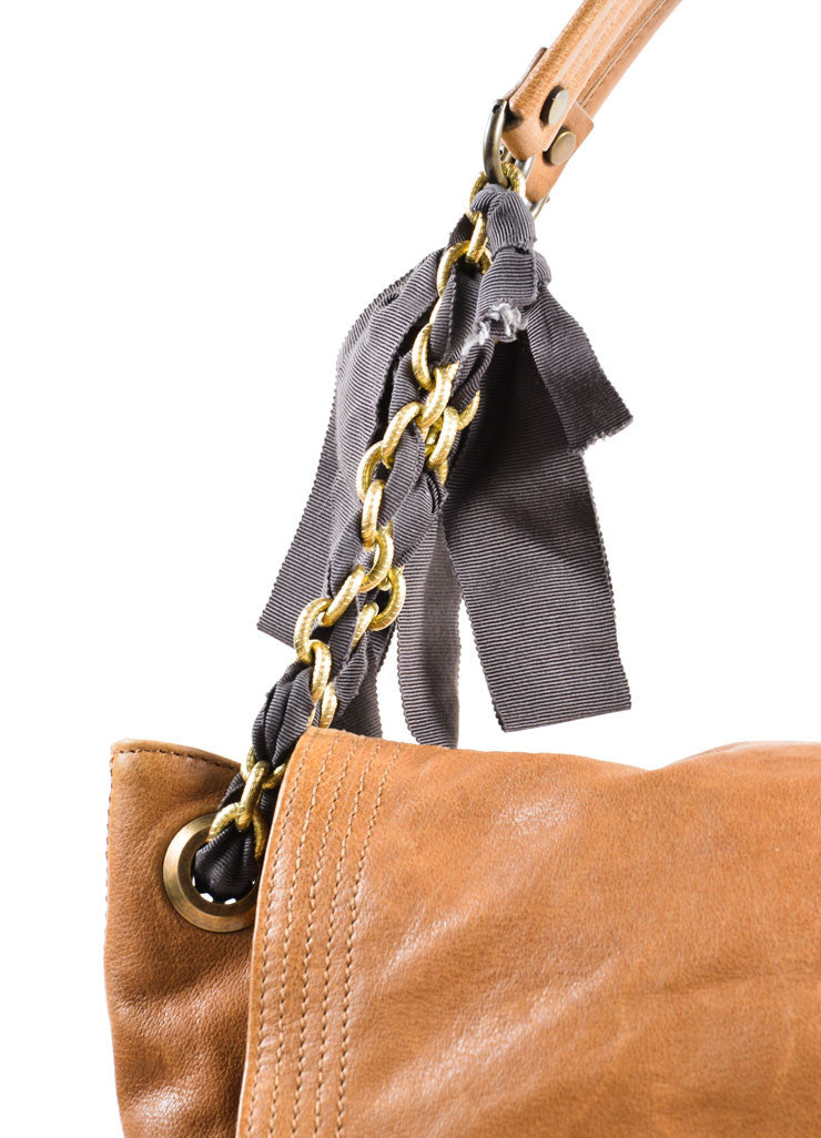 "Lanvin Brown Grained Chevre Leather Bow Chain ""Happy"" Shoulder Bag Detail 2"