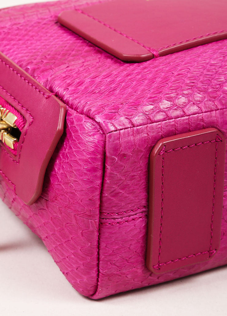 "Lanvin NWT $1890 Fuchsia Snakeskin Leather ""Mini Padam"" Shoulder Bag Detail 1"