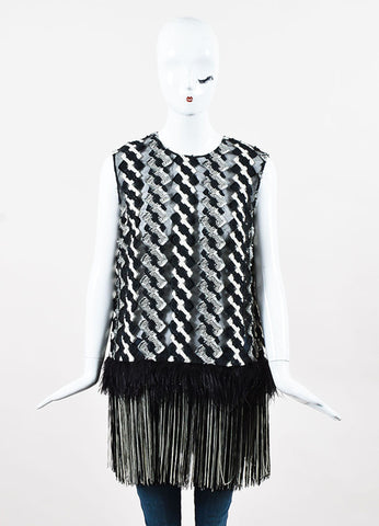 Lela Rose Black and White Sheer Ostrich Feather Fringe Sleeveless Blouse Frontview