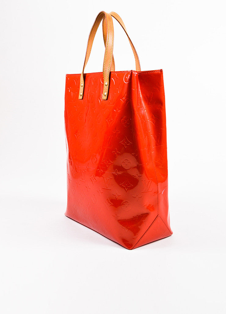 "Louis Vuitton Red Vachetta and Vernis Leather Monogrammed ""Reade MM"" Tote Bag Sideview"