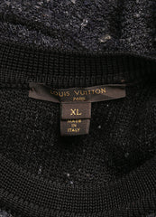 Louis Vuitton Black and Grey Silk Tweed Knit Sleeveless Flare Dress Brand