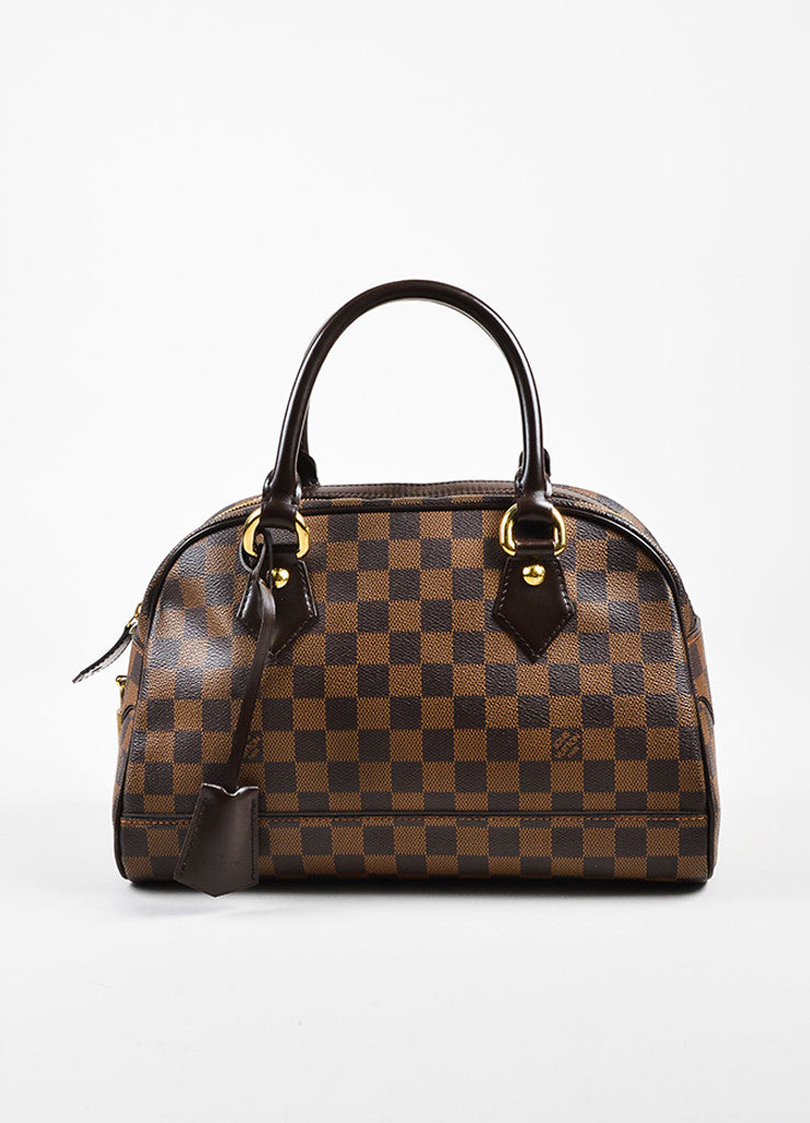 "Louis Vuitton Brown ""Ebene Damier"" Coated Canvas Checkered ""Duomo"" Satchel Bag Frontview"