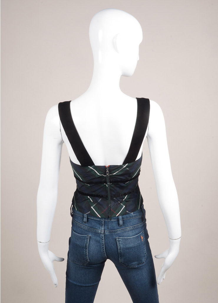 Louis Vuitton Green, Navy, and Black Silk and Velvet Plaid Cropped Bustier Top Backview