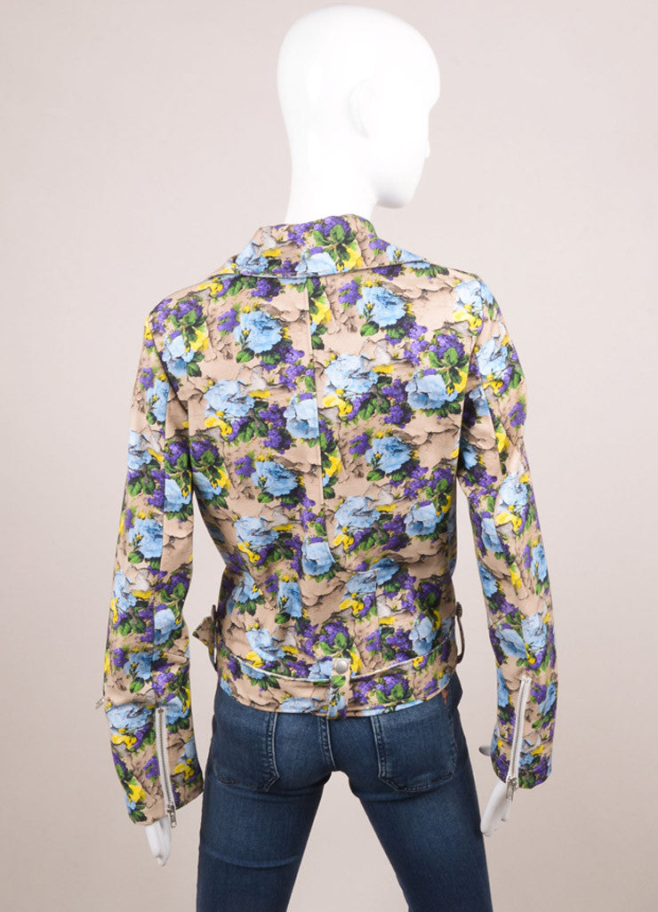 MSGM New With Tags Nude, Purple, and Blue Cotton Floral Printed Biker Jacket Backview