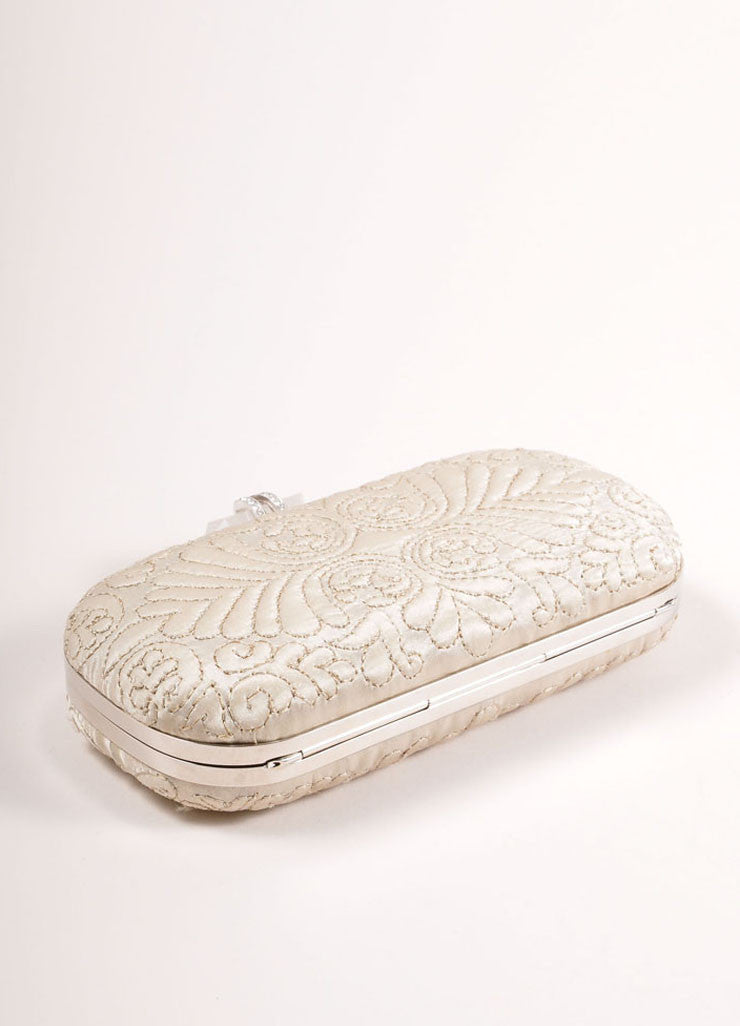 "Marchesa Beige ""Oyster"" Embroidered Satin Quartz Latch ""Lily"" Clutch Bag Bottom View"