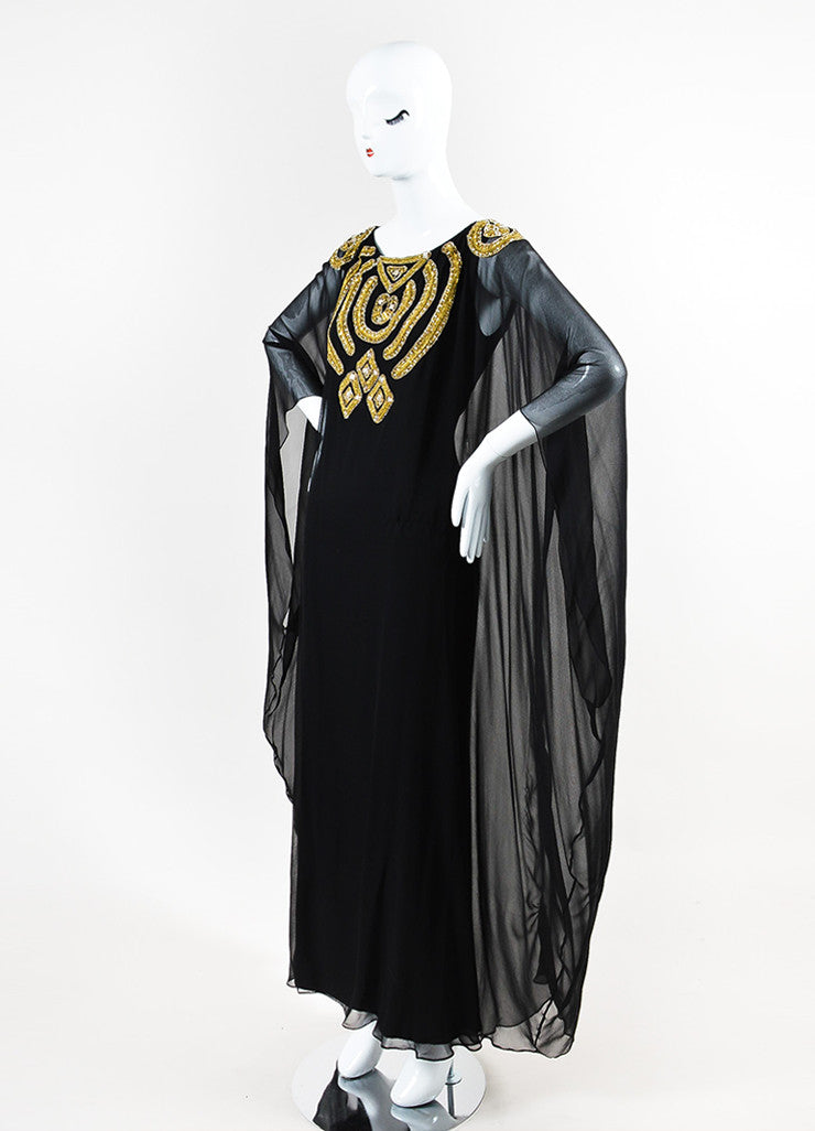 Marchesa Black and Gold Silk Crepe Overlay Bead Embellish Gown Sideview