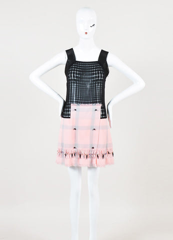 Marco de Vincenzo Black and Pink Semi Sheer Beaded Sleeveless Dress Frontview