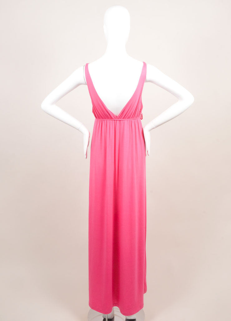 "Miguelina New With Tags Pink ""Elisa"" V-Neck Jersey Maxi Dress Backview"