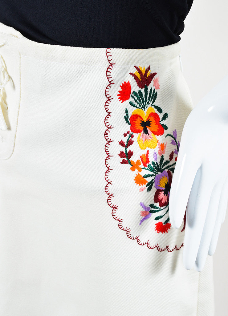 Miu Miu Cream and Multicolor Floral Embroidered Lace Up Midi Skirt Detail
