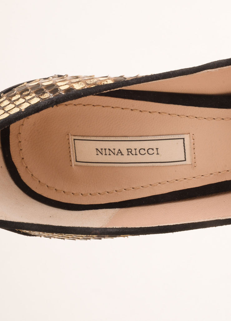 Nina Ricci Cream and Black Snakeskin Bead Embellished Pumps Brand