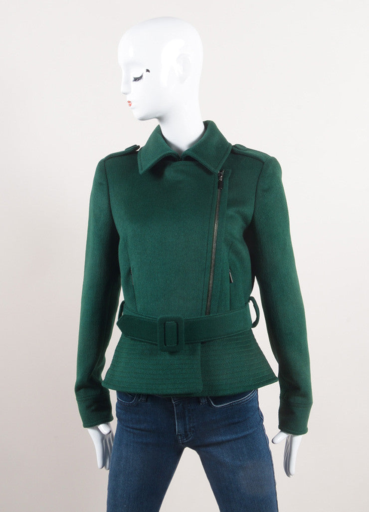 Oscar de la Renta New With Tags Green Wool Blend Peplum Belted Moto Jacket Frontview
