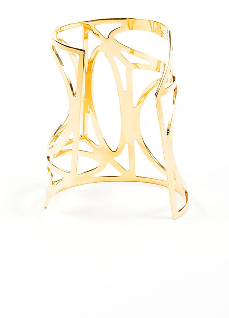 Gold Toned Brass Pierre Hardy Geometric Cut Out Cuff Bracelet Backview