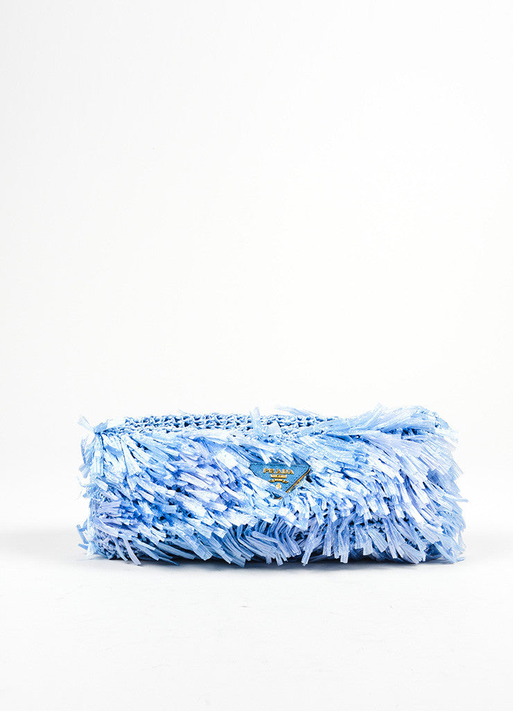 Prada Blue Rectangular Raffia Grass Clutch Bag Frontview