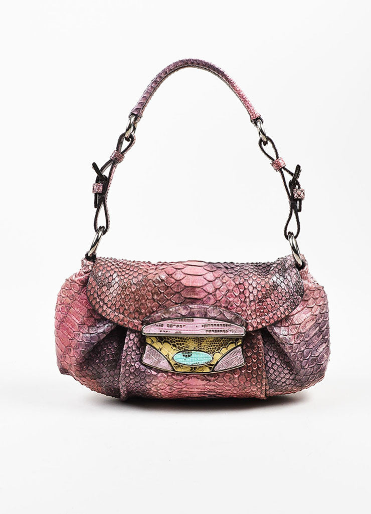 Prada Pink, Purple, and Yellow Python Lizard Trim Push Lock Flap Handbag Frontview